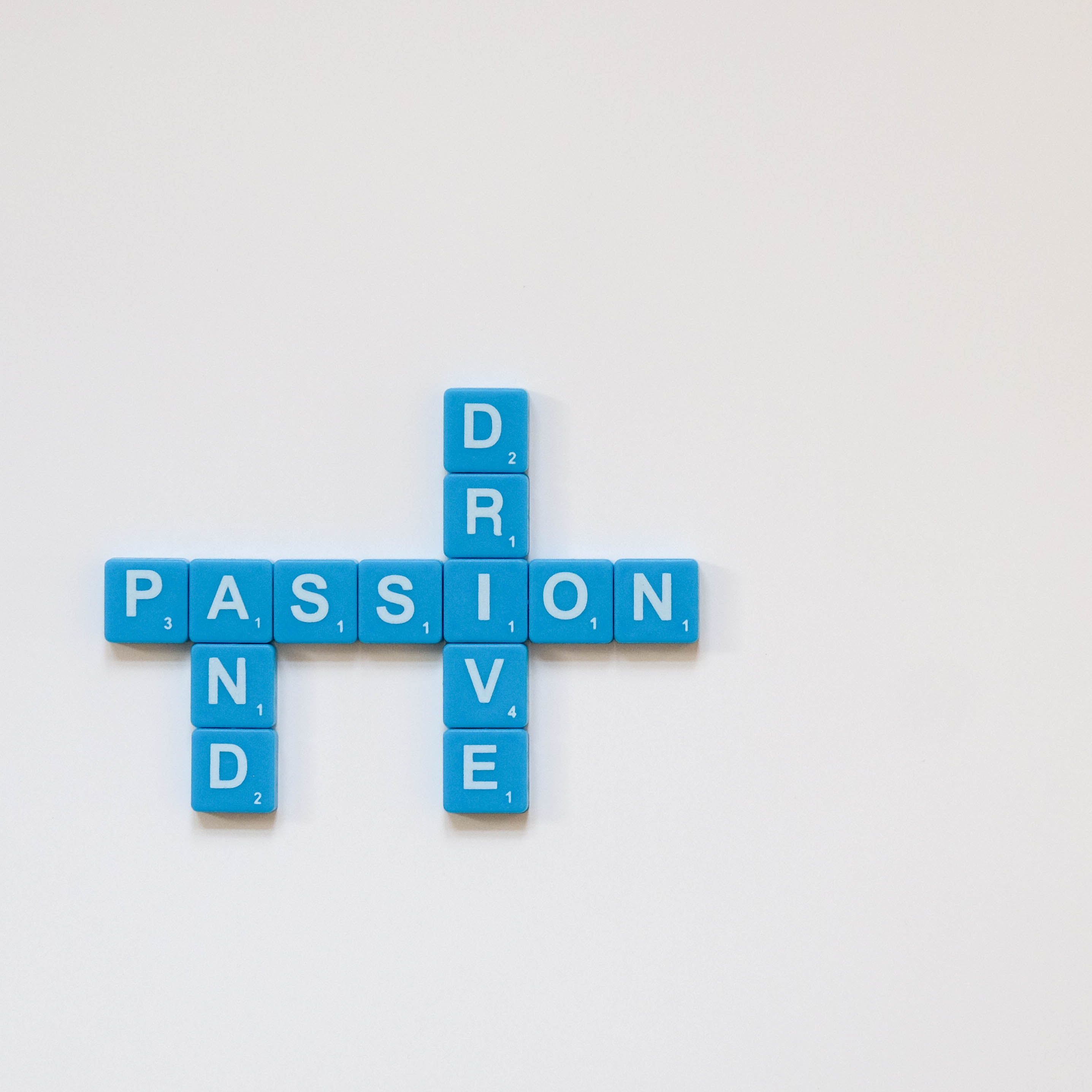 passion and drive word tiles